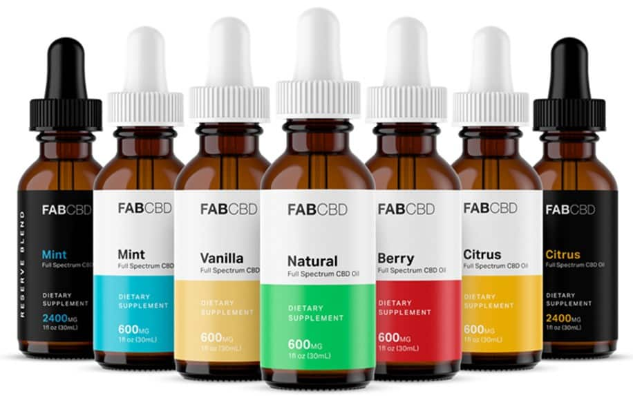 Collection of flavored CBD oils by FAB CBD