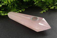 Custom Rose Quartz Crystal Pipe
